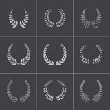 Vector black laurel wreaths icons set Royalty Free Stock Image