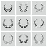 Vector black laurel wreaths icons set. On white background Royalty Free Stock Photo