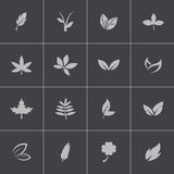 Vector black leaf icons set Royalty Free Stock Photo