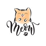 Vector black lettering Meow with cute smiling cat. And cat paw print. Sketch drawing kitten meow slogan poster Royalty Free Stock Photos
