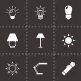 Vector black light icons set. On black background Stock Photography