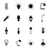 Vector black light icons set Stock Photography