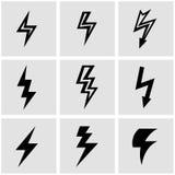 Vector black lightning icon set Stock Image