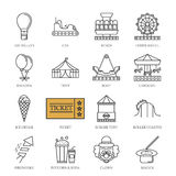 Vector black line amusement park icons set Royalty Free Stock Photo