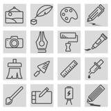 Vector black line art icons set Stock Photography