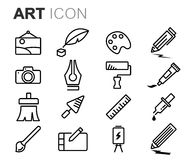 Vector black line art icons set Royalty Free Stock Photography