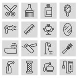 Vector black line barber icons set Stock Images