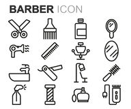 Vector black line barber icons set Royalty Free Stock Photo