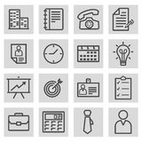 Vector black line business icons set. On grey background Stock Photo