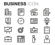 Vector black line business icons set. On white background Royalty Free Stock Photography
