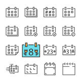 Vector black line Calendar icons set. Includes such Icons as Calendar, Rejected. Approved, Holiday. Isolated on white background Stock Photos