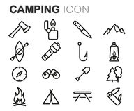 Vector black line camping icons set stock illustration