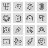 Vector black line car service icons set Royalty Free Stock Images