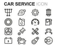 Vector black line car service icons set Royalty Free Stock Photos