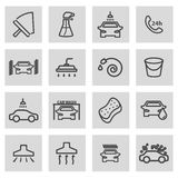 Vector black line car wash icons set Stock Images