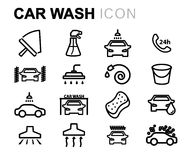 Vector black line car wash icons set Stock Photos