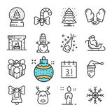 Vector black line Christmas and New Year icons set. Includes such Icons as Snowman, Mittens, Snow, Gift, Fireplace. Royalty Free Stock Photo