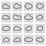 Vector black line cloud icons set Royalty Free Stock Images