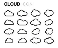 Vector black line cloud icons set Royalty Free Stock Photo