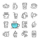 Vector black line Coffee and tea icons set. royalty free illustration