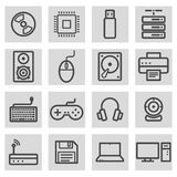 Vector black line computer icons set Royalty Free Stock Photography