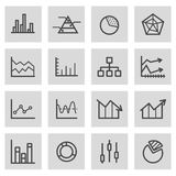 Vector black line diagram icons set. On grey background Royalty Free Stock Photo
