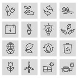 Vector black line eco icons set. On grey background Royalty Free Stock Photography