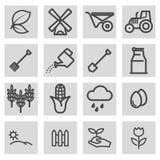 Vector black line farming icons set Stock Photo