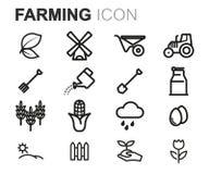 Vector black line farming icons set Royalty Free Stock Photos