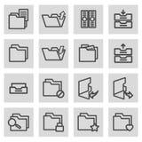 Vector black line folder icons set. On grey background Stock Image