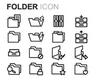 Vector black line folder icons set Royalty Free Stock Photo