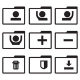 Vector black line folder icons set on white background Royalty Free Stock Photography