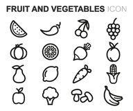 Vector black line fruit and vegetables icons set Royalty Free Stock Images