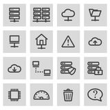 Vector black line ftp icons set Royalty Free Stock Photography