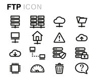 Vector black line ftp icons set Royalty Free Stock Image