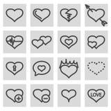Vector black line love icons set Stock Photos