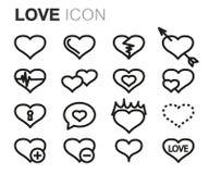 Vector black line love icons set Royalty Free Stock Photos