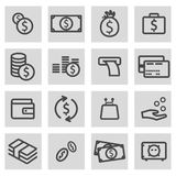 Vector black line money icons set. On grey background Royalty Free Stock Photography