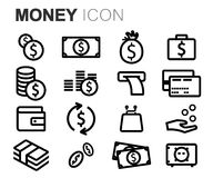 Vector black line money icons set. On white background Stock Photos