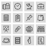 Vector black line office icons set. On grey background Royalty Free Stock Images