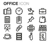 Vector black line office icons set. On white background Stock Photo