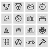 Vector black line racing icons set. On grey background Stock Image
