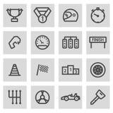 Vector black line racing icons set Stock Image