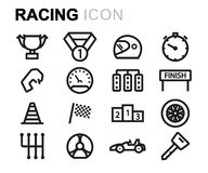 Vector black line racing icons set. On white background Stock Photo