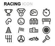Vector black line racing icons set Stock Photo