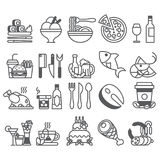 Vector black line Set of flat icons and elements about food and drink. Eps10 Royalty Free Stock Images