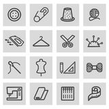 Vector black line sewing icons set Royalty Free Stock Image
