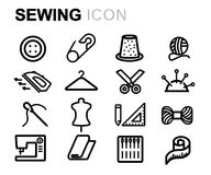 Vector black line sewing icons set Royalty Free Stock Photography
