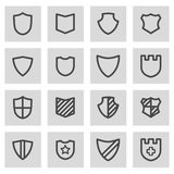 Vector black line shield icons set Royalty Free Stock Images