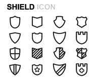 Vector black line shield icons set Stock Image